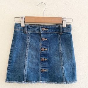Crazy 8 Frayed Hem Button Front Denim Jean Skirt